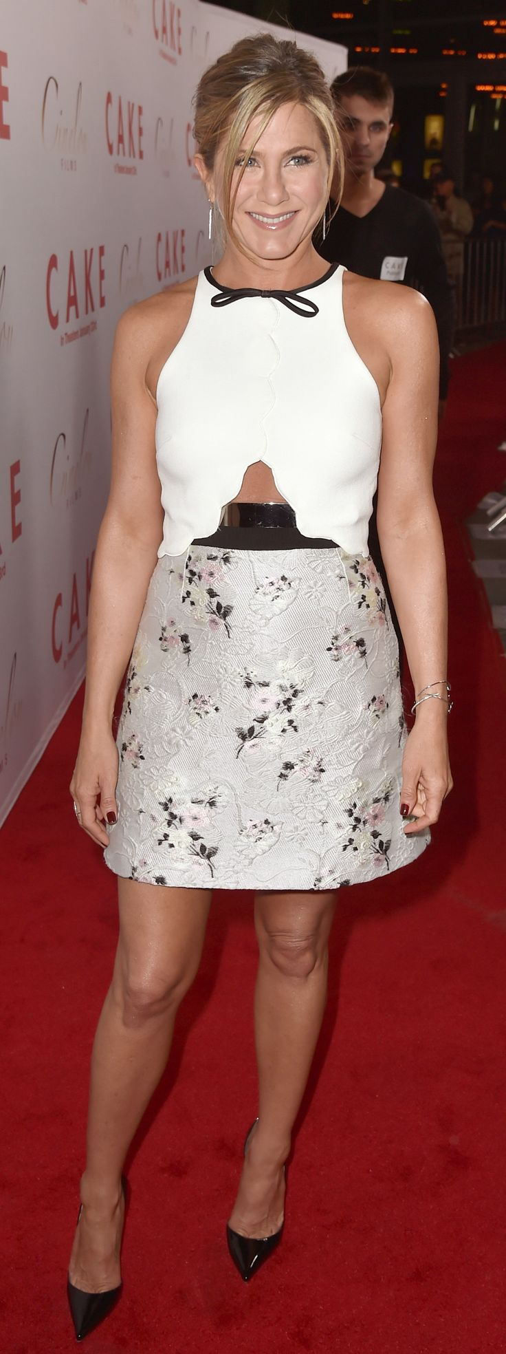Jennifer Aniston Shows Some Skin at the Cake Premiere in Giambattista Valli