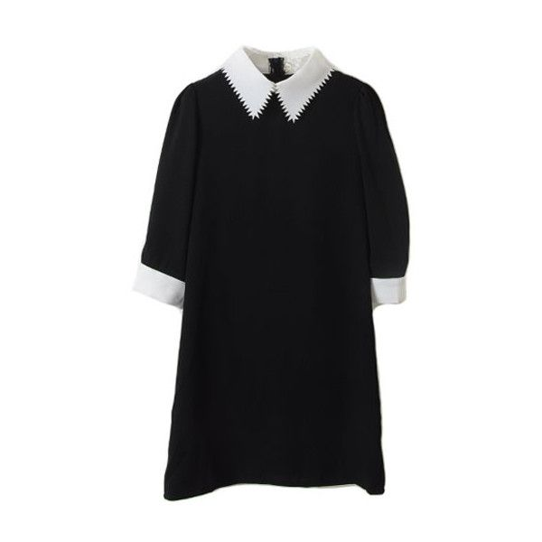 Contrast Sawtooth Lapel Black Dress (720.410 IDR) ❤ liked on Polyvore featuring dresses, vestidos, black, women, slimming dresses, black zip dress, zipper dress, black day dress e kohl dresses