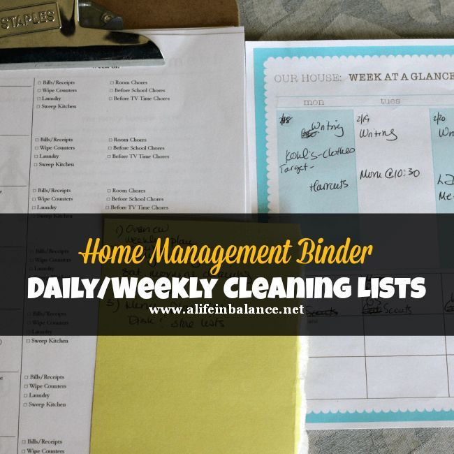 Daily Weekly Cleaning Lists