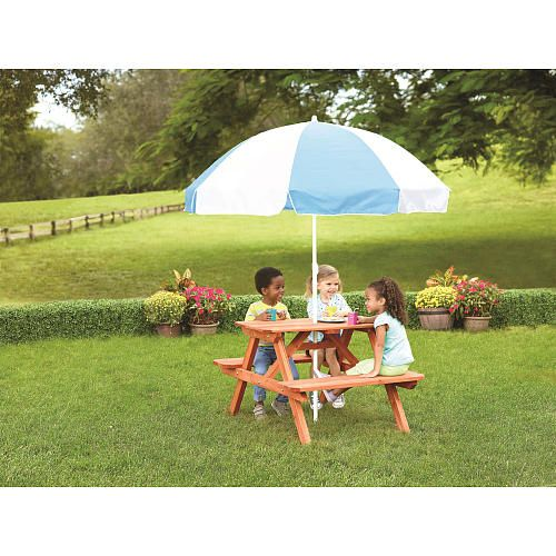 Sizzlinu0027 Cool Sunny Cedar Wooden Picnic Table With Umbrella   Toys R Us    Toys