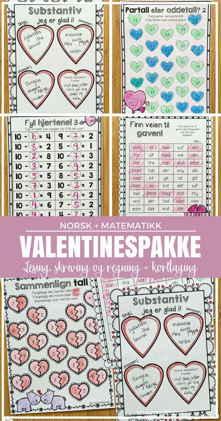 Arbeid med lese- og skriveopplæring, norsk og matematikk, med valentinestema!