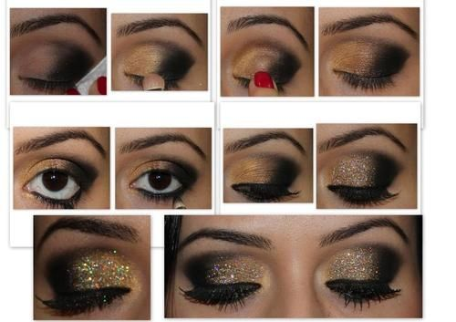 Sparkly brown to black eyeshadow.