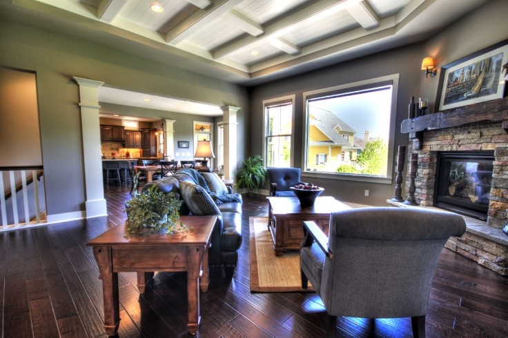 Real estate photography living spaces and corner fireplaces on pinterest - Fireplaces for small spaces property ...
