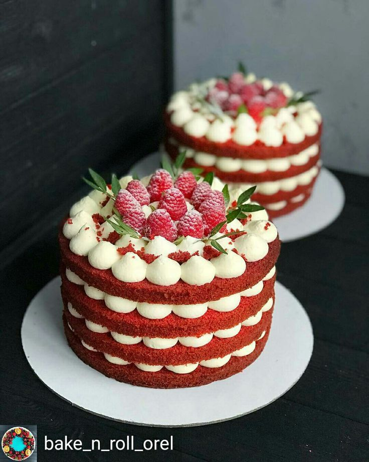 Looks Like Red Velvet With Whipped Cheese Cake Filling And Fruit