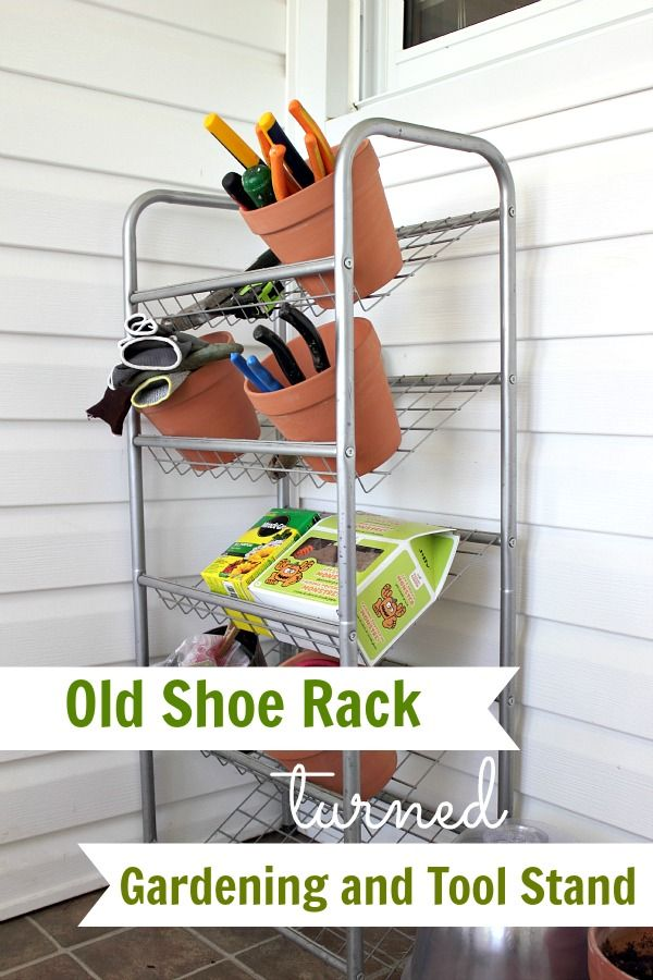 Old Shoe Rack Turned Gardening and Tool Stand - The Creek Line House