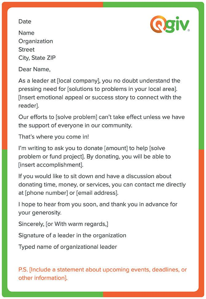 This is a fundraising letter template for a corporate donation request.