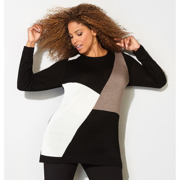 Avenue Plus Size Neutral Colorblocked Sweater (7.190 HUF) ❤ liked on Polyvore featuring tops, sweaters, black natural, plus size, long tops, colorblock top, color block tops, women's plus size sweaters and womens plus sweaters