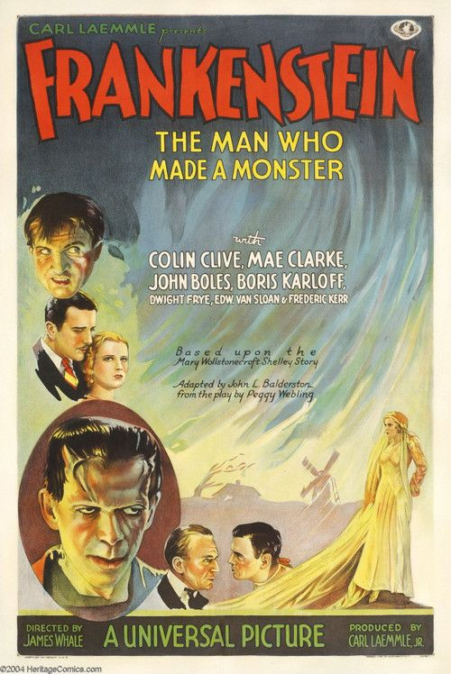 Carl Laemmle's classic FRANKENSTEIN (1931) in which Boris Karloff received 4th billing. He appered in 16 movie roles that year. His indelible performance in Frankenstein made him a legend. The poster is one of the Top 5 most expensive posters ever to sell at auction.