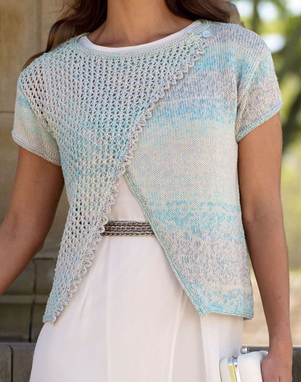 Knitting Pattern for Lace Front Wrap Cardigan - Sirdar Toscana DK 7974 asymmetric wrap features a lace panel and knit lace edge. Option for long or short sleeves. Sizes Size 32/34 36/38 40/42 44/46 48/50 52/54 inches.