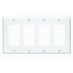 Leviton 80412-W 4-Gang Decora/GFCI Device Decora Wallplate, Standard Size, Thermoset, Device Mount, White