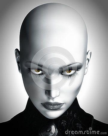 Ilustración de mujer futurista calva hermosa.