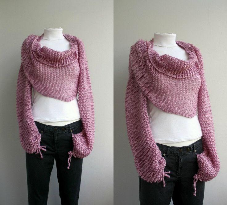 Pink Knit Bolero - Scarf - Shawl - Neckwarmer - gift For Womens - For Girl…