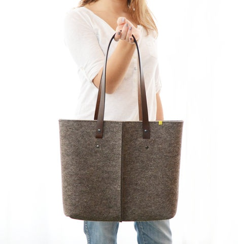 SHOPPING,BAG,IN,FELTRO,100%,lana,-,grigia,|,tote,natural,grey,Bags_and_Purses,Tote,Felt,felt,wool_felt,design,original,style,stylish,new,italian,Italy,color,colorful,handbag,shoulder_bag,leather