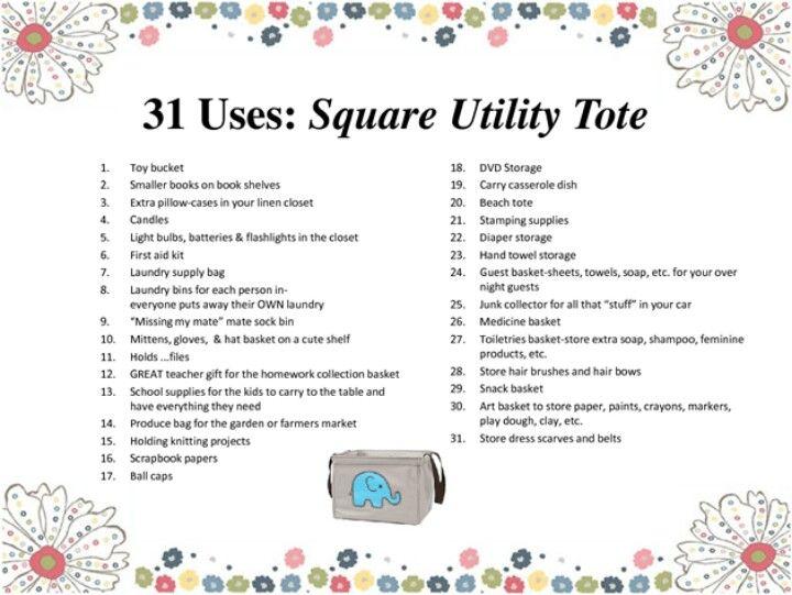 31 Uses: Square Utility Tote http://www.mythirtyone.com/491237