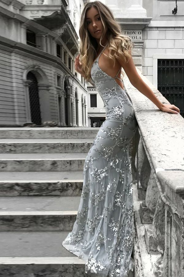 6c7ce864b0 Mermaid Deep V-Neck Backless Sweep Train Grey Tulle Prom Dress with  Appliques Formal Dresses