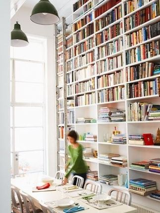 Bookcase Rolling Ladder Gorgeous Interiors Pinterest