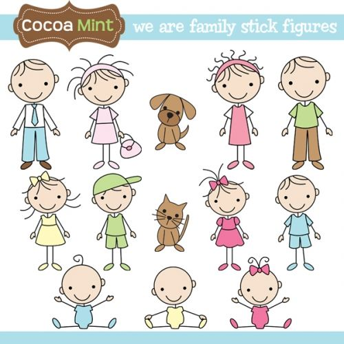 we are family stick figures by cocoa mint