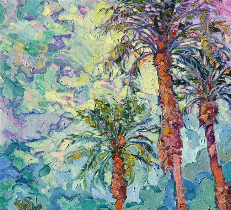 Palms and Clouds - Contemporary Impressionism   Landscape Oil Paintings for Sale by Erin Hanson