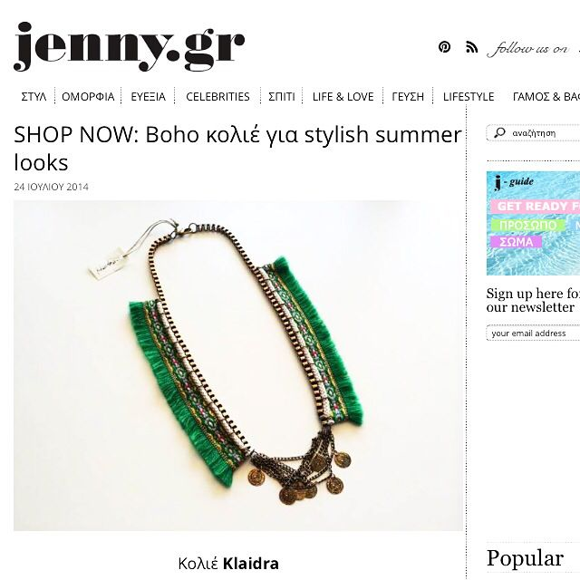 Klaidra *gypsy* fringe necklace featured on Jenny.gr✨ #tb #summer #ss14 #bohemian #style #fashion #jennygr #fringe #gypsy #necklace #feature #boho #handmade #jewelry #klaidra #designers #klaidrajewelry