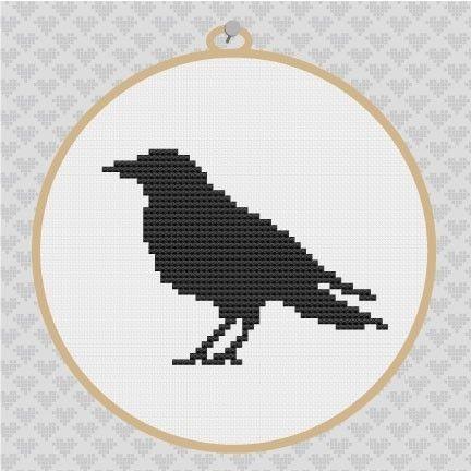 Crow Silhouette Cross Stitch PDF Pattern 001. $3.50, via Etsy.