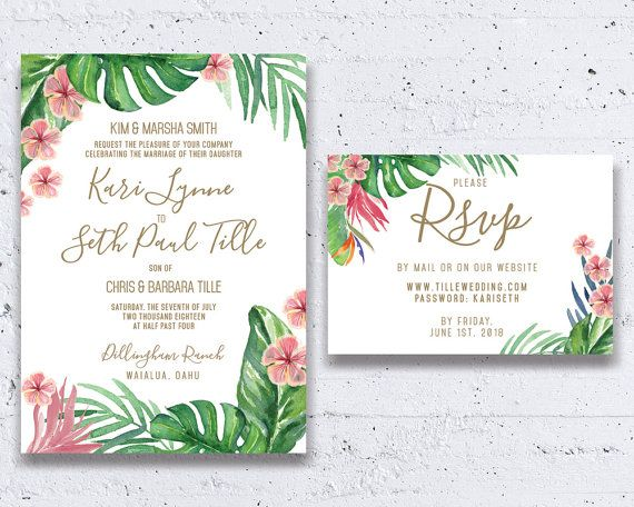This tropical leaves wedding invitation is perfect for any beach-themed or destination wedding!   Created by Heartwood Paperie  heartwoodpaperie.etsy.com