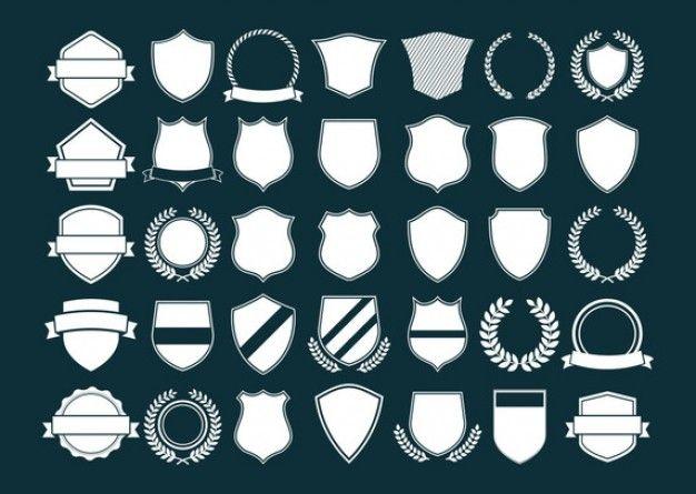 Silhuetas de diferentes escudos Vetor grátis