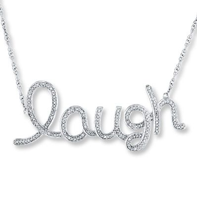 diamond laugh necklace 1 10 ct tw round cut sterling