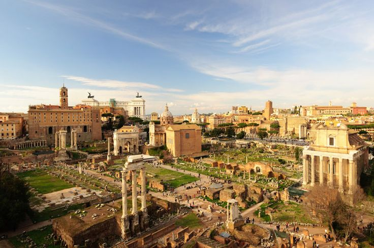 This is the Forum Romanum view from the Palatine Hill, Rome. The Palatine hill was the chosen location for Rome by Romulus. Remus preferred the Aventine hill. The dispute was to be settled by augury, but the two brothers continued to argue over the founding causing Romulus to kill Remus.