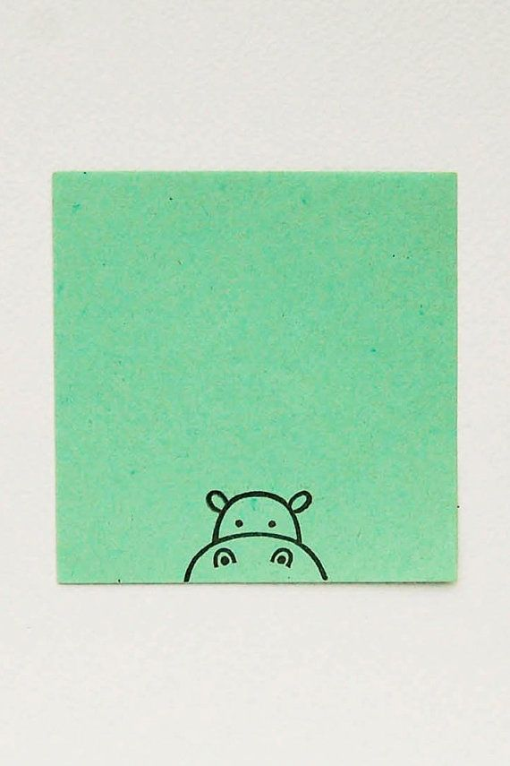Cute Baby Hippo peek-a-boo stamp - Non-mounted hand carved simple rubber stamp - funny animal hippopotamus stamp