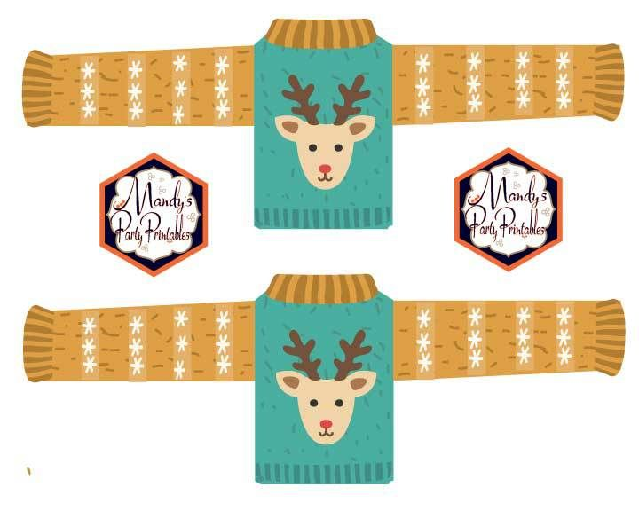 Sweater Drink Wrappers from Ugly Sweater Christmas Party Printables via Mandy's Party Printables