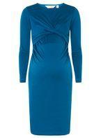 Womens **Maternity Twist Front Bodycon Dress- Blue