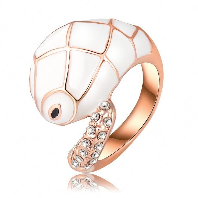 Кольцо настоящее 18 K покрытие из розового золота австрийский кристалл белый змея кольца преувеличены животное кольцо Ri-HQ0134-d