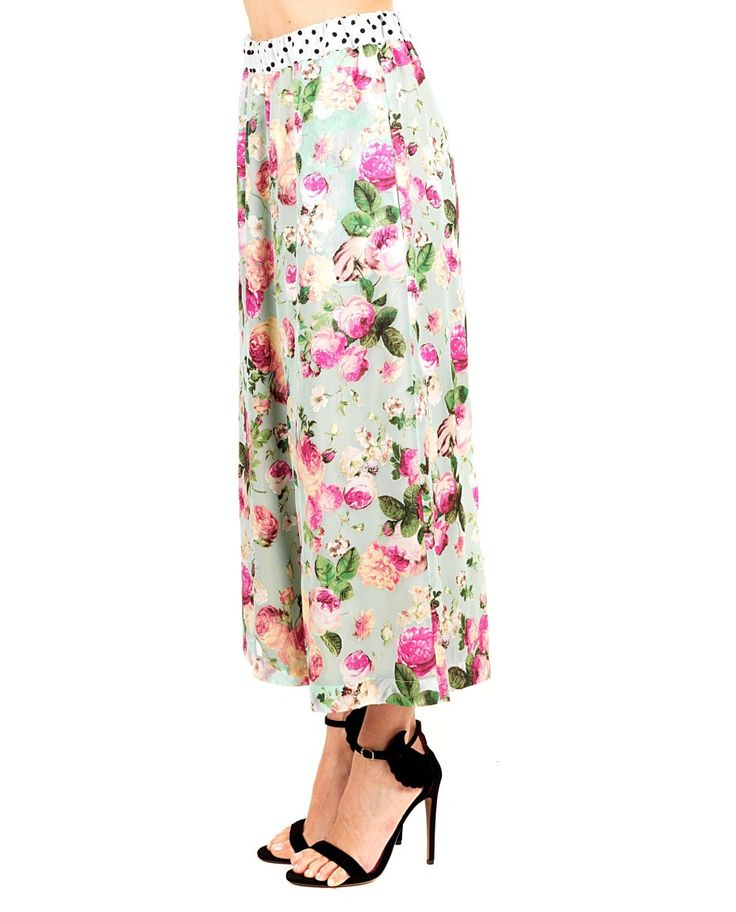 ANTONIO MARRAS Multicolour trousers floral print high waist wide legs drawstring waist ankle length 50% PL 44% VI
