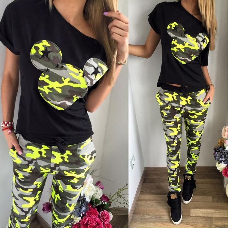 2017 Camouflage Mickey Women Suit 2 Two Piece Set Tracksuit Black T Shirt and Pants Set Fashion Sweat Suits Women Outfit