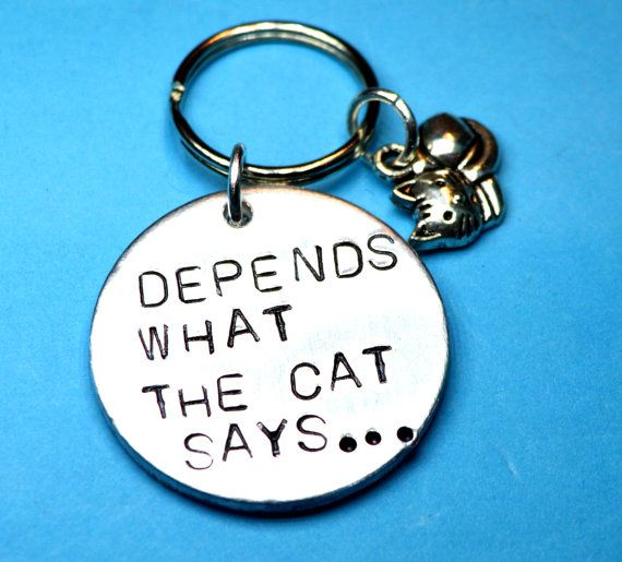 Cat keychain Cat keyring Cat person Cat by BeesHandStampedGifts
