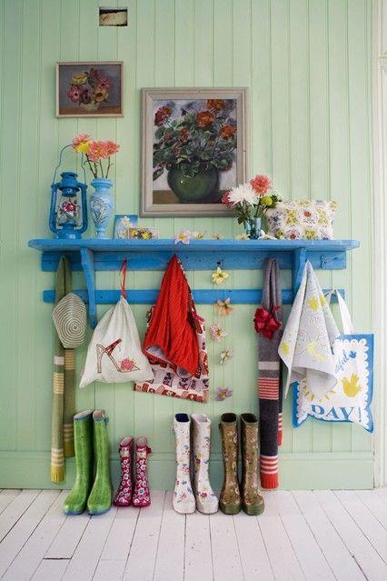 Hang a Hallway Hat Rack - Home Storage Ideas - Bathroom, Bedroom & Kitchen (EasyLiving.co. SO CUTE!