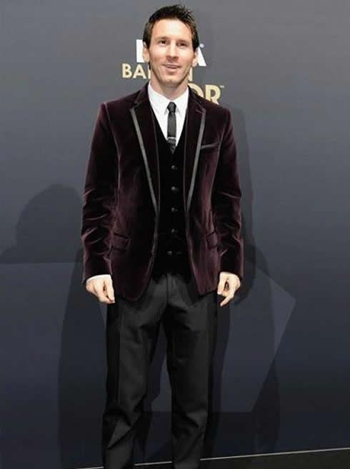 Lionel Messi Fashion Purple Suit At Fifa Balon Dor 2011