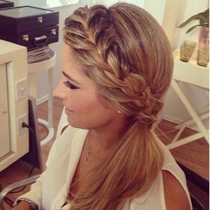 French Braid into Low Side Ponytail
