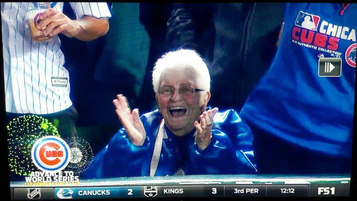 """✊✊ Dorothy Farrell is the 90-year-old season-ticket holder who was beaming with jubilation in a front-row seat.  As Farrell put it, """"I just wished wish my brothers were alive to see this ... They loved the Cubs, & my father did too. But they're all dead now. This old lady's still living.""""  Fox Sports interviewed Farrell after the Cubs won Game 6 of the NL Championship Series on Saturday night in Chicago. When asked how she would celebrate the win, she said: """"I'll probably have a…"""