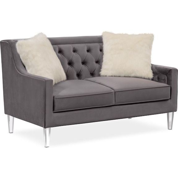 Chloe Loveseat Gunmetal Value City Furniture And Mattresses