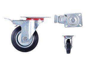 Roulette pivotante avec frein Armature en tôle acier galvanisée Roue à bandage caoutchouc noir Jantes à roulement à rouleaux Economique,…