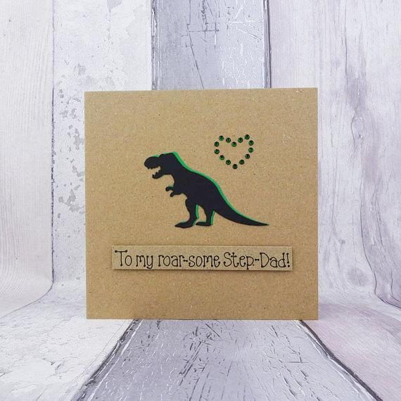 Handmade funny dinosaur card for Fathers Day or Dads birthday. This handmade T-Rex dinosaur card would make the perfect Fathers Day card or birthday card for Dad, Step-Dad, Granddad - or anyone who loves dinosaurs, as you can personalise the message at no extra charge! This handmade