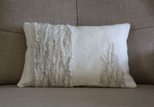 beautiful creations. Handfelted cushion with details of handspun yarn from rough wool. By red2white