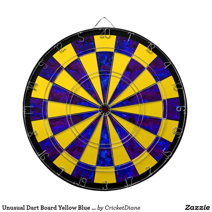 Unusual Dart Board Yellow Blue Modern Darts Gift - #darts #dartboards #games #gameroom #giftsforhim