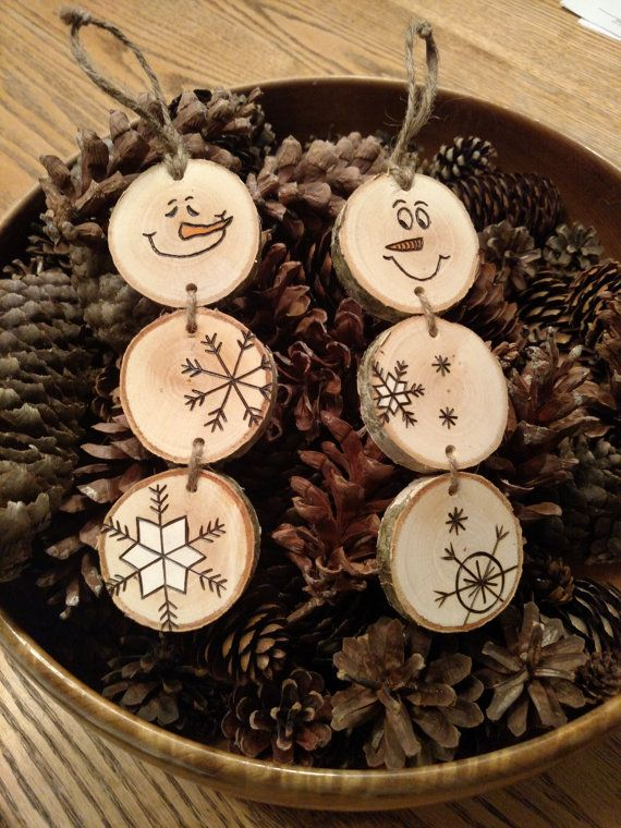 Wood Burned Christmas Ornaments -- Stacked Snowman Ornaments/Gift Tags on white…
