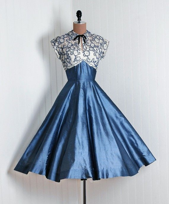 1950's Blue Iridescent Silk Party Dress with Soutache and Rhinestone Detail on the Bodice