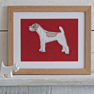 jack russell - small embroidered picture - framed pictures - Homewares
