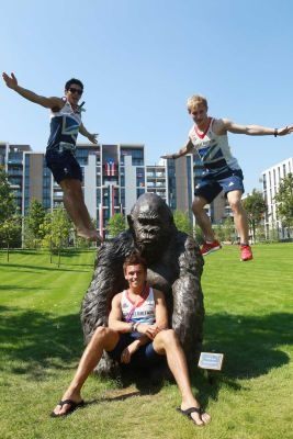 Divers Chris Mears, Tom Daley and Jack Laugher of Great Britain pose on a gorilla sculpture ahead of the 2012 Olympics. (July 26, 2012) Photo Credit: Getty Images