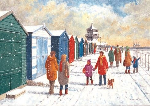 """Harwich in Winter. 125 x 175mm. £4.50.  All cards come in packs of 10.  Greeting in cards: """"With Best Wishes for Christmas and the New Year."""""""
