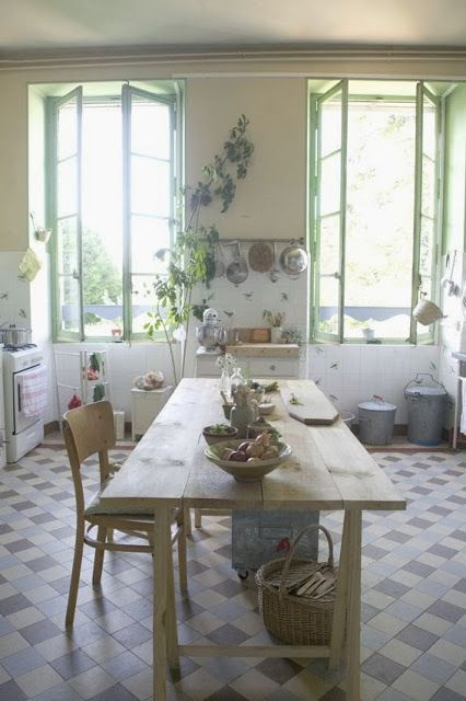 Les Petites Emplettes, France via Kickcan & Conkers, lovely rustic kitchen with big windows and great floor tiles